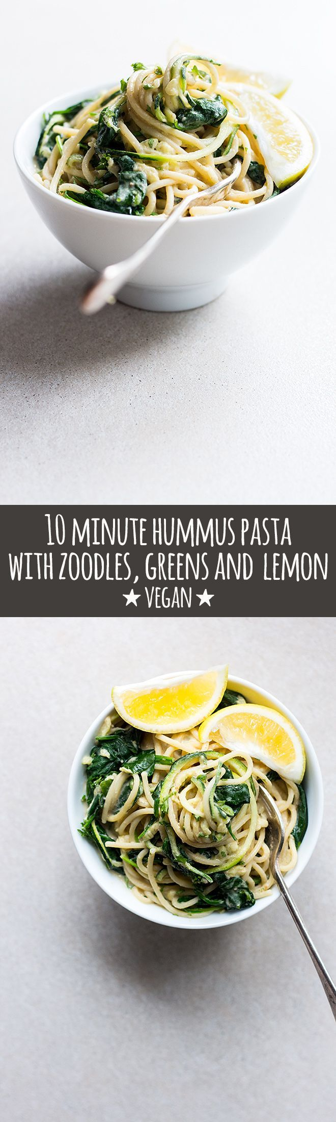 Hummus pasta tossed with zoodles, greens and lemon is an easy, high protein meal that's creamy, bright and lemony, and on the table in under 10 minutes via @Quite Good Food