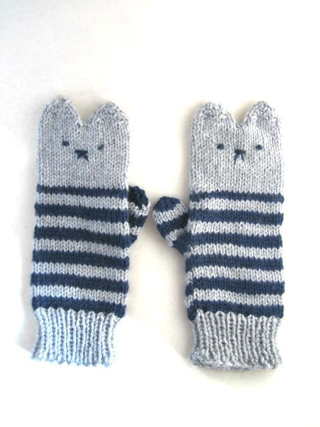 Kitten Mittens in light grey and cambridge blue. $21.00, via Etsy.