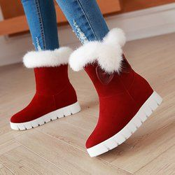 Suede Casual Bowknot Winter Wedge Heel Snow Boots