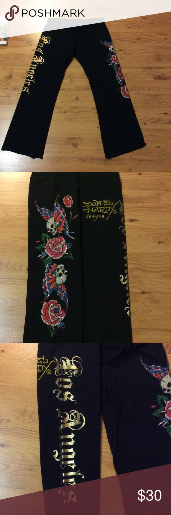 Ed Hardy Drawstring Pants 💋🌹☠❤️ Writing on butt says Don Ed Hardy Designs. One thigh is the signature skulls with bling and the other thigh says For Angels. Drawstring for adjustable waist band. 100% cotton! In like new condition! Ed Hardy Pants Track Pants & Joggers