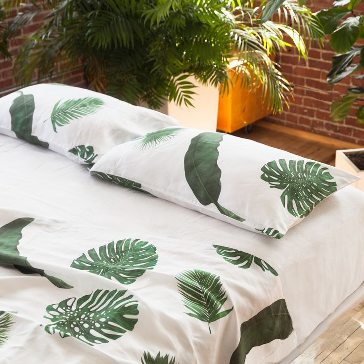Huddleson Linens - Tropical Leaves White Linen Pillowcases and Shams - Pure Linen Luxury Bed Linens Palm Print