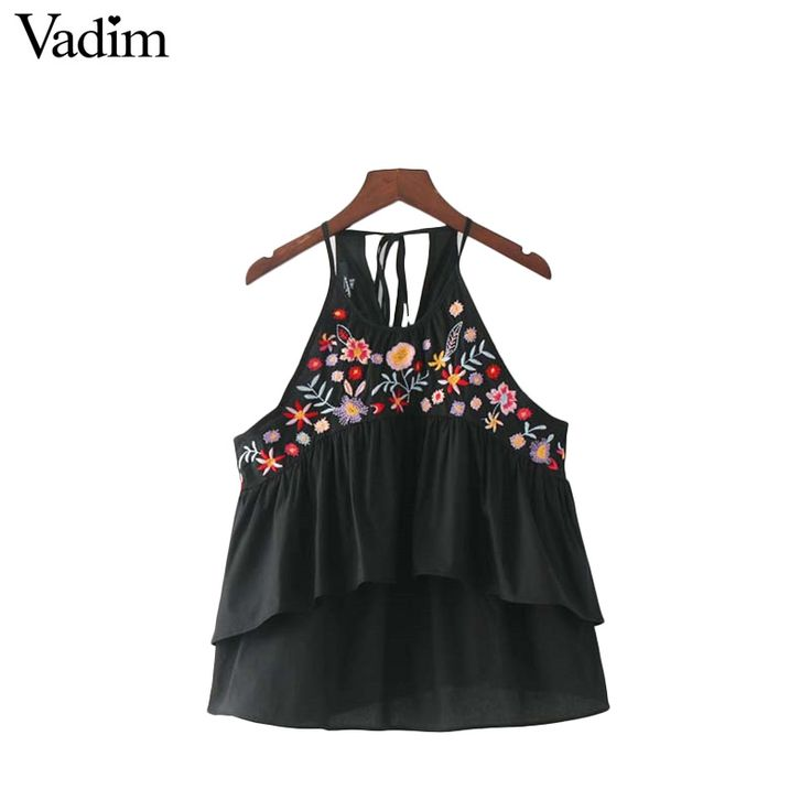 Vadim Women Sweet Ruffles Floral Embroidery Camis Shirts Sleeveless Back Bow Tie Tank Tops Ladies Summer Casual Cute Tops Wt463