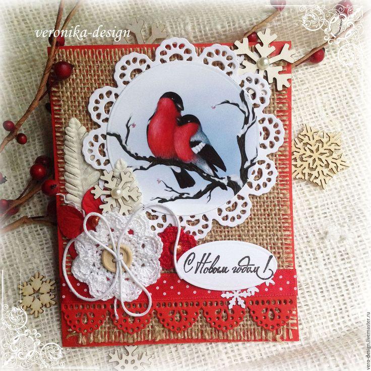 """Купить Набор для создания новогодней открытки """"Снегири"""" - ярко-красный, набор для скрапбукинга, набор для открыток"""