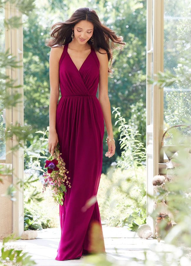 V Neckline A-line Backless Long Fuchsia Chiffon Bridesmaid Dress
