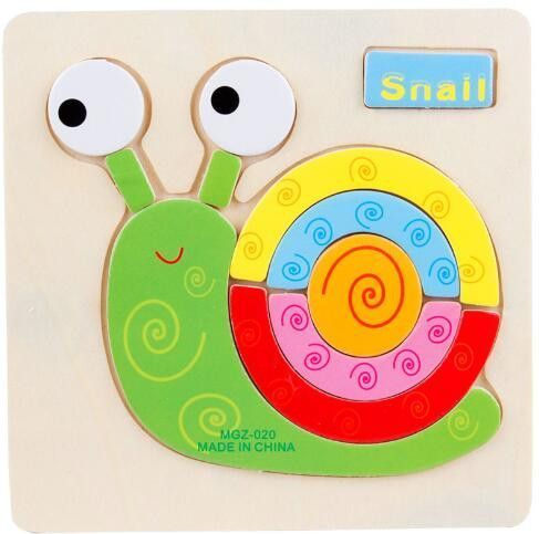HOT SALE Kids Jigsaw Puzzle Cartoon Animals Dimensional Puzzle Force Children Wooden Jigsaw Puzzle Kids Education Learning Toys #learningtoys