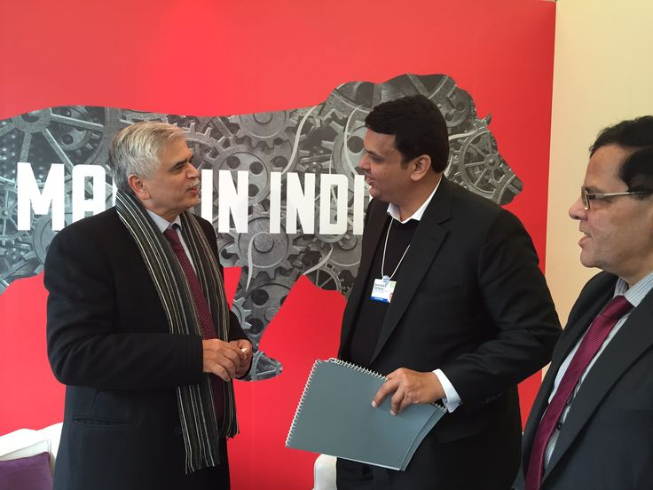KPMG @ WEF 2015: Richard Rekhy, CEO of KPMG India, with the Chief Minister of Maharashtra at #WEF15.