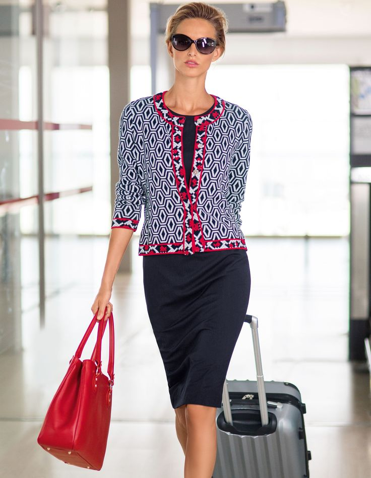 Contrasting patterns combining strong reds with classic navy displaying top-class workmanship. #MADELEINEfashion #MADELEINE #Fashion #workwear #SS16 #pattern