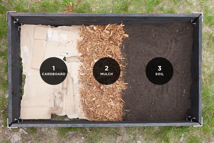 Raised Garden Bed Layers // The Fresh Exchange  (cardboard, mulch, soil)