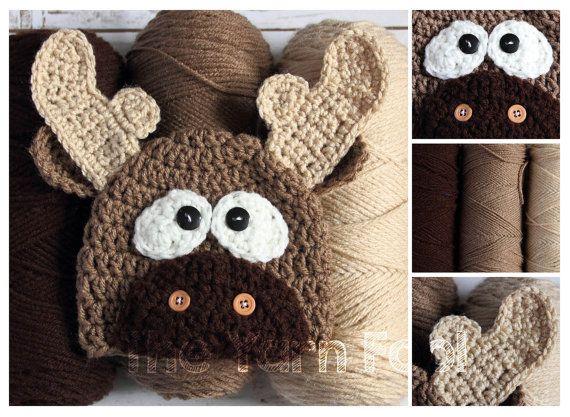 Crochet el sombrero de alces recién nacido bebé por TheYarnFool