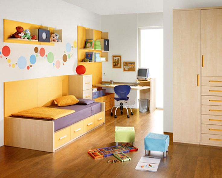 White Themed Modern Kids Room Design with Corner Space Wood Brown Study Desk that have Chair on the Solid Wood Floor and Simple Brown Wood Bed Frame that have Purple Bedding also Minimalist Wall Shelf