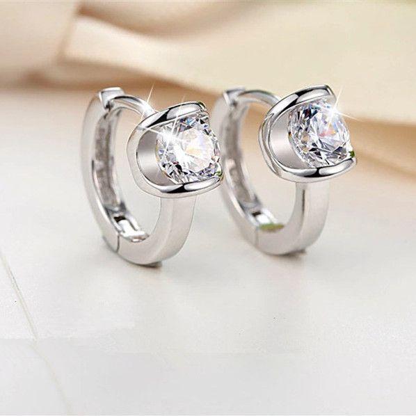 Circle Small Hoop Earrings for Women Girls Loop Earrings White Gold color Zirconia Cz Ear Hoops pendientes de aro mujer