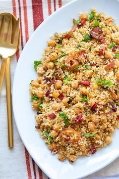 Moroccan Couscous Tfaya with Chickpeas and Cranberries Recipe | ChefDeHome.com