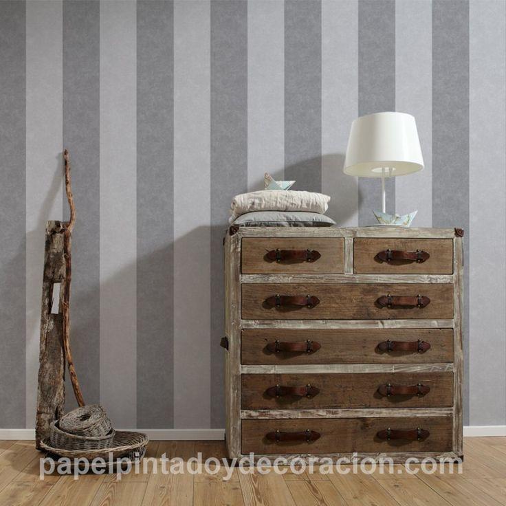 Papel pintado raya ancha 13cm con relieve gris claro y gris oscuro textura rugosa PDA8329904