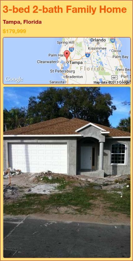 3-bed 2-bath Family Home in Tampa, Florida ►$179,999 #PropertyForSale #RealEstate #Florida http://florida-magic.com/properties/89213-family-home-for-sale-in-tampa-florida-with-3-bedroom-2-bathroom