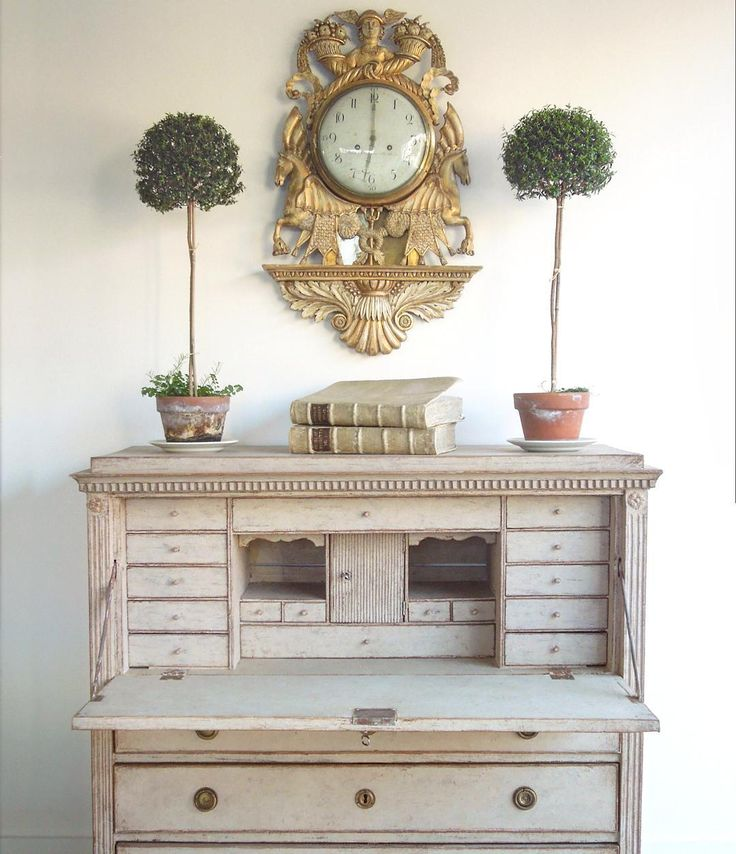 Topiary Tuesday Feeling Fancy Today Swedish Gustavian Chest And Wall Clock Both Painted Secretary Deskspainted