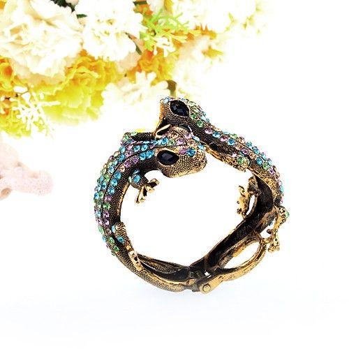 Bracelet - lizard design, alloy and blue green rhinestones $30