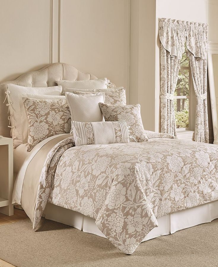 Croscill Nellie TAUPE Floral 3 pc Queen Comforter Set NO BEDSKIRT #Croscill #Contemporary