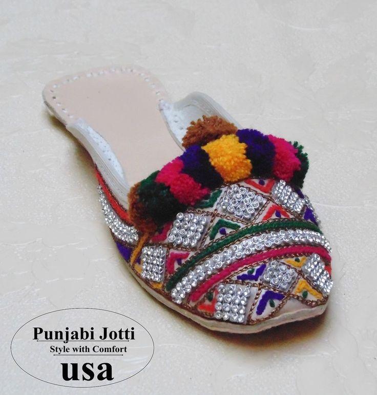 US 6-9 WOMEN HANDMADE COLORFUL BOW MULTI THREAD&BEADS WORK PUNJABI JOTI LEATHER  #Handmade #PunjabiJotti #Asyouwant