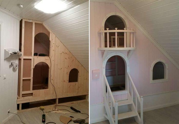 Da Tuva Marie (3) trengte ny seng, ville faren lage en seng utenom det vanlige. Så han bygget en toetasjers prinsesseseng med trapp og balkong til henne!