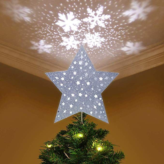 Yunlights Christmas Tree Topper Lighted Star Tree Topper With Led Snowflake Projecto With Images Christmas Tree Toppers Christmas Tree Toppers Unique Frozen Christmas Tree