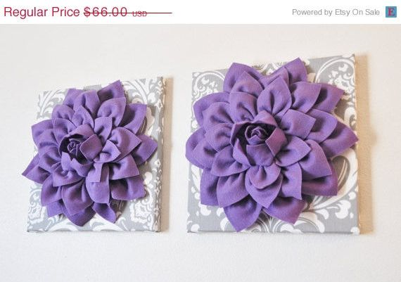 "MOTHERS DAY SALE Two Flower Wall Hangings -Lavender Purple Dahlias on Gray and White Damask 12 x12"" Canvas Wall Art- Baby Nursery Wall Decor"