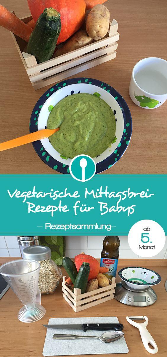 Rezepte für vegetarischen Mittagsbrei. Babybrei ab dem 5. Monat ohne Fleisch