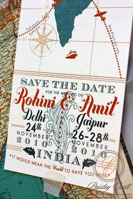 Fab save the date for a destination wedding by Paisley Quill. Love it!