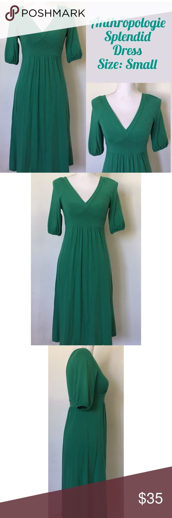 """Splendid Women's Empire Waist Dress, Green (EUC) Details: EUC In excellent used condition. No rips or stains. Normal fabric pulling from being worn and washed. Style No. SDML0803B V-Neckline 3/4 Sleeve Fabric: Cotton Blend Style: Empire Waist Color: Green Size: Small Approx. 26"""" Bust Approx. 31"""" Length Splendid Dresses"""