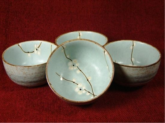 japanese bowls | Japanese bowls blue plum set of 4 - Gifts Of The Orient