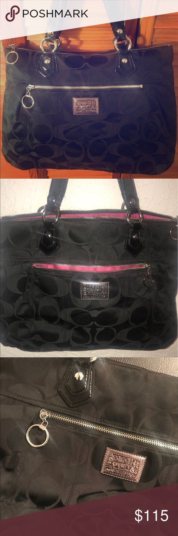 Coach Poppy Black Handbag Black Coach Poppy large handbag with pink interior. Coach Bags Totes