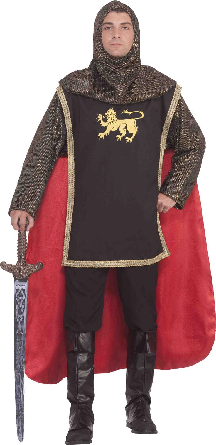 Get that medieval look! This costume is great for Halloween, plays, productions and costume parties! The chainmail-look headpiece comes with the top and attached tunic and cape. The sword, pants, and