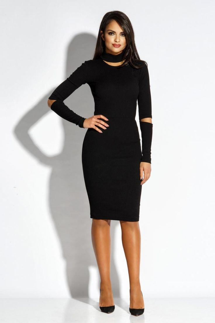 Dzianinowa Elegancka Sukienka Czarna Rico