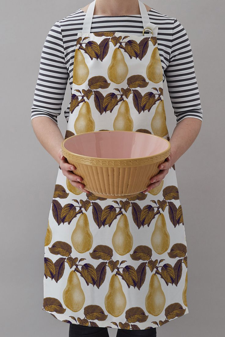 Thornback & Peel 100% cotton screen printed apron in our latest Pear print for AW17.