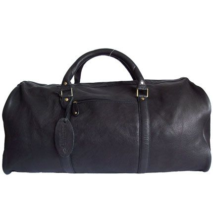 Woodland Leather Black Leather Holdall/Travel Bag