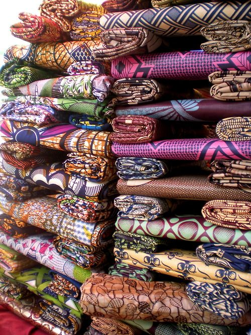 Fabrics in Senegal - I remember great high stacks of fabrics, so much fun.