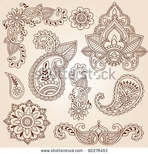 Henna Mehndi Doodles Abstract Floral Paisley Design Elements, Mandala, and Page Corner Design Vector Illustration stock image