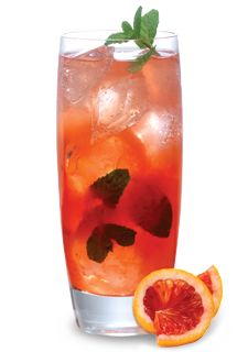 Mommajito (8 fresh mint springs 1 parts Simple Syrup 1 parts Fresh Lime Juice  2 parts Cruzan  Aged White Rum 1 parts DeKuyper Blood Orange Liqueur 1 parts Soda Water)