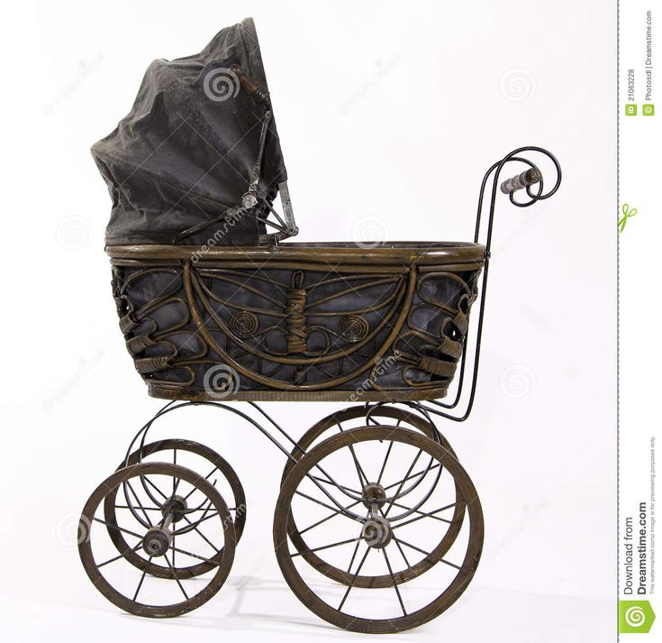 Antique stroller for baby shower pictures.