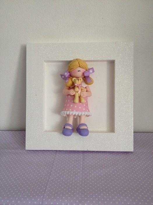 cuadro decorativo infantil, muñeca porcelana en frio
