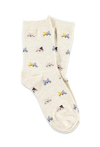 Cat-Patterned Crew Socks | Forever 21 - 2000140684