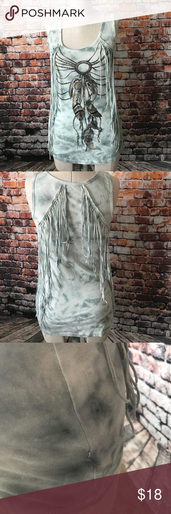 Miss me dream catcher fringe top Good condition, it has been altered after a little hole, please check pictures, other than that is in good condition. Offers are welcome, no trades! Miss Me Tops Tees - Short Sleeve
