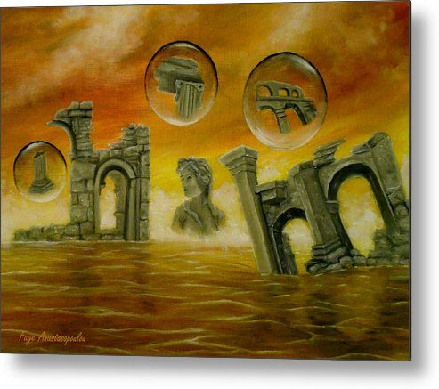 Metal Print, Painting, monuments,temples,ancient,historical,old,era,archeological,finds,antiquity,classic,oldtimes,statue,greek,godess,european,fantasy,scene,bubbles,seascape,water,sky,clouds,picturesque,whimsical,vibrant,vivid,colorful,orange,golden,impressive,cool,beautiful,powerful,atmospheric,celestial,mystical,dreamy,contemporary,imagination,surreal,figurative,modern,fine,oil,wall,art,images,home,office,decor,artwork,modern,items,ideas,for sale,fine art america,Echoes Of The Past