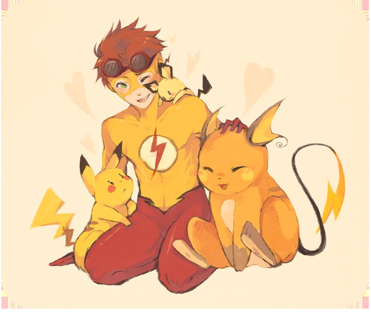 Young Justice Kid Flash with Pikachu, Pichu and Raichi