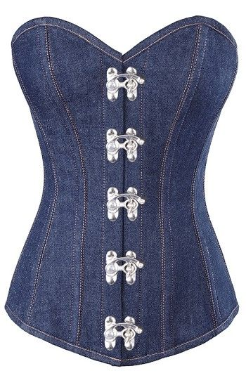 New denim steel boned corset, will enhance your curves right away https://www.theburgandyboudoir.com/Long-Denim-Corset_p_451.html