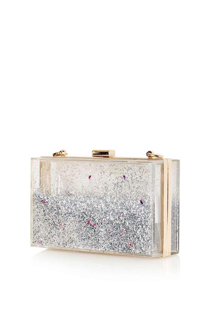 **Silver Glitter Clutch Bag by Skinnydip