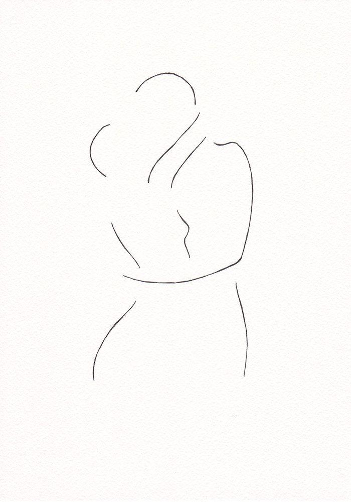 Baiser minimaliste de dessin. Création d'art ligne par siret