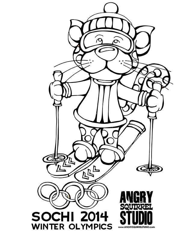 FREE COLORING PAGE Angrysquirrelstudio Winter Olympics