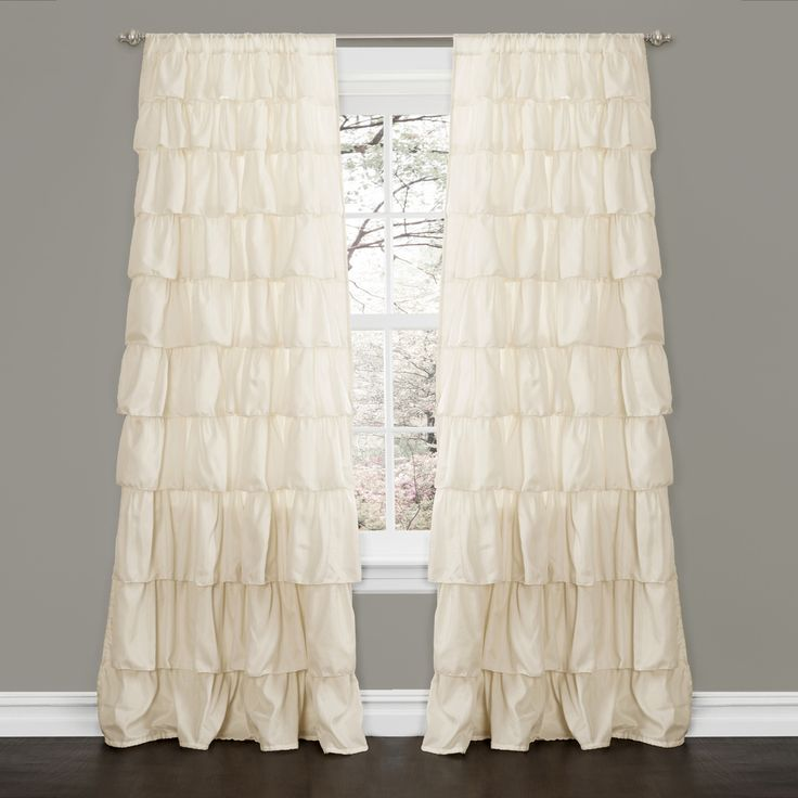 Lush Decor Ivory 84-inch Ruffle Curtain Panel   Overstock™ Shopping - Great Deals on Lush Decor Curtains
