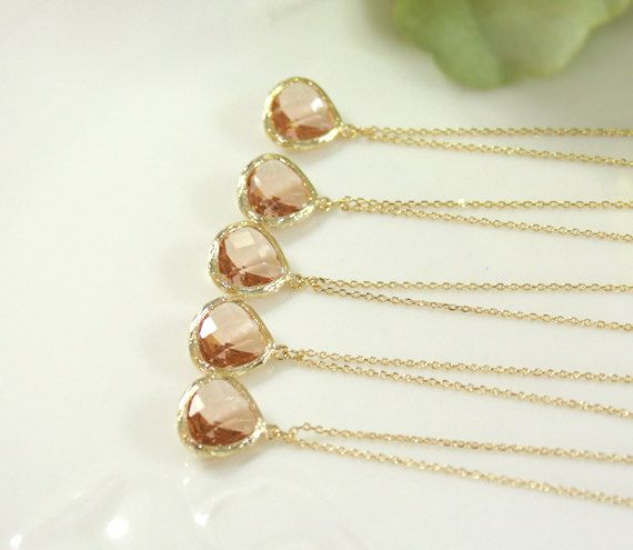Bridesmaid gifts - Set of 5 - Champagne pendant necklace, wedding, bridesmaid necklace, Peach necklace, Gift For Her, B0060-G
