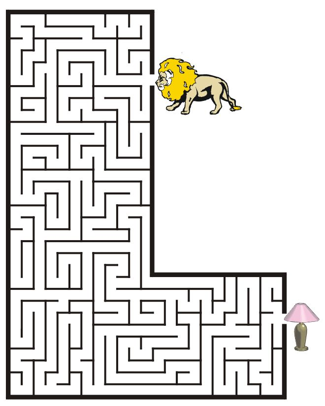 Free Printable Maze of the letter L